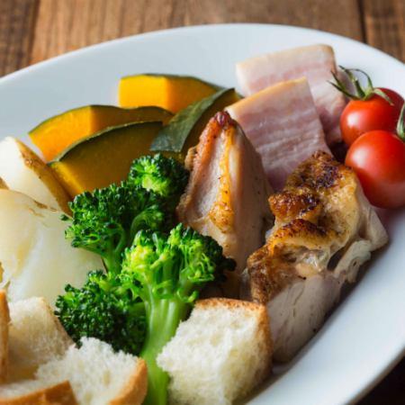치즈 퐁듀 야채 + MEAT 세트