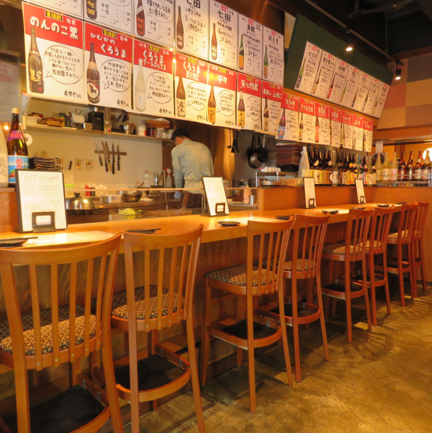 ◆ Cooking in front ◆ Perfect counter seat for use on a single person or date! Cooking & offering sticking materials with iron plate in front of you! Teppanyaki with live style full of presence ♪ Please experience 【Original Sumiyoshi / Teppanyaki / Okonomiyaki / Counter / Date】