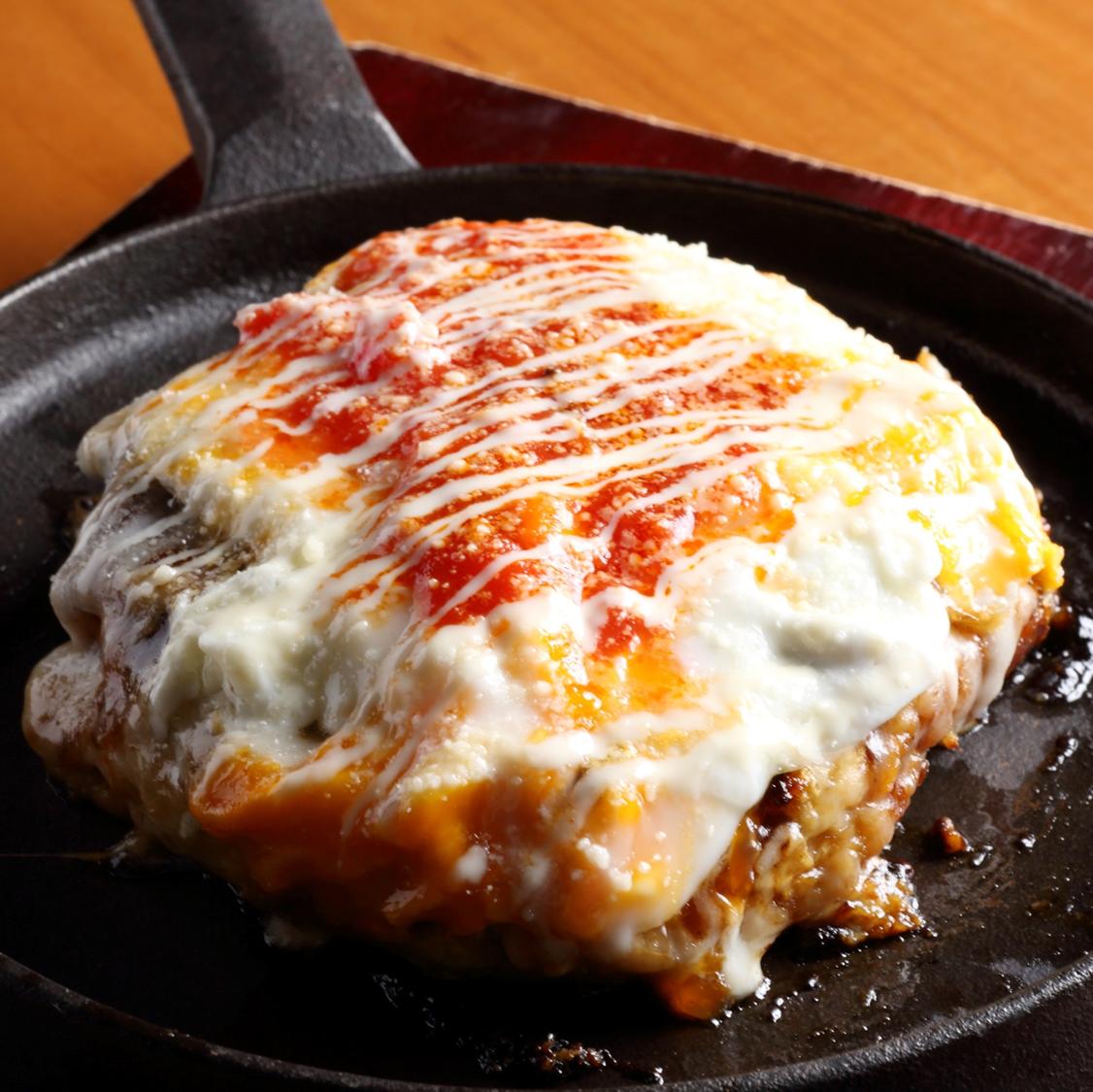 完熟トマトとチーズのたいよう特製お好み焼き