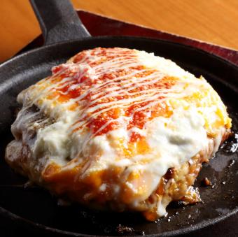Mature ripe tomato and cheese specially made okonomiyaki