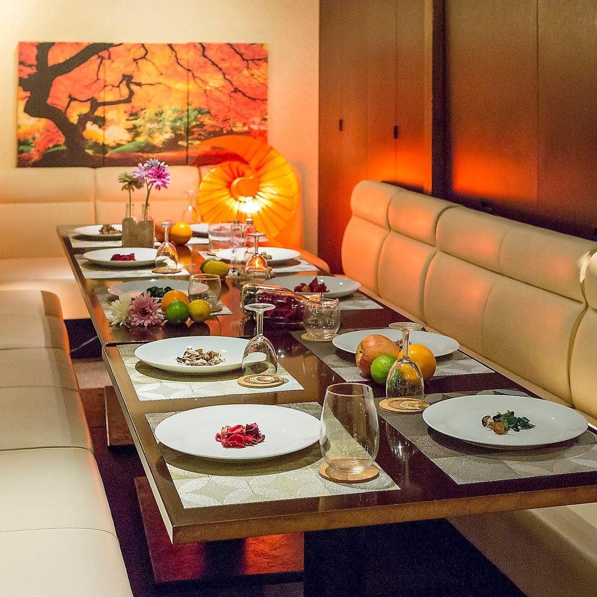 ◎ comfortable banquet in a private room space with the theme of Japanese and Western cuisine