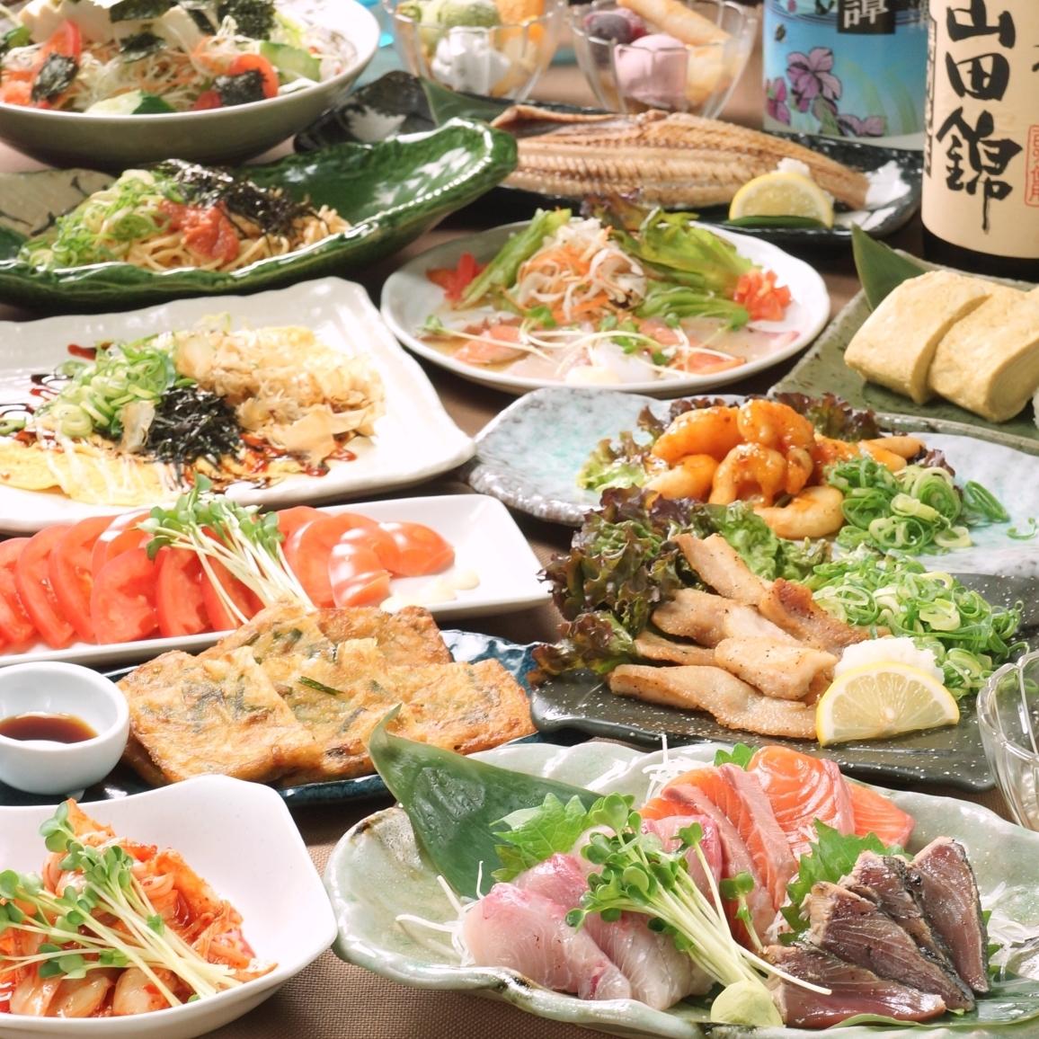 在三宫站外面的私人房间小酒馆,你可以吃和全友畅饮3180日元