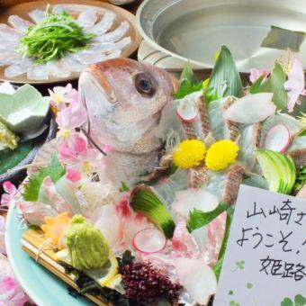 【90分飲放付】前獲れ・天然鯛のみを厳選!姿造り・鯛しゃぶなど【鯛】フルコース5000円(税別)