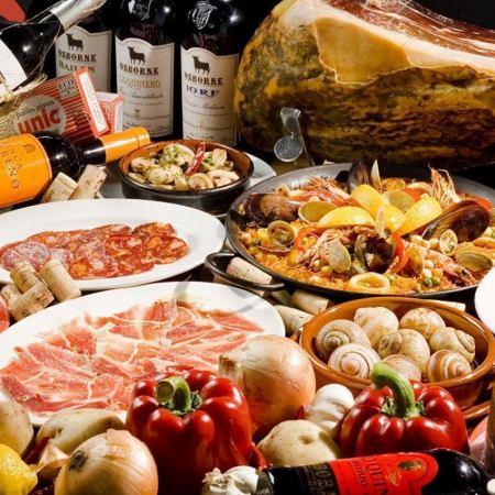 【バレンシアコース】2時間飲み放題 大鍋パエリア+肉料理付き 全7品4000円