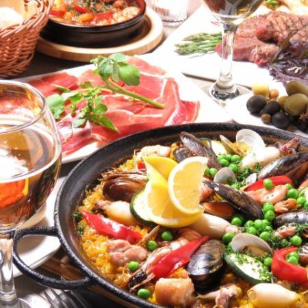【アンダルシアコース】2時間飲み放題 大鍋パエリア+肉料理付き 全10品6000円