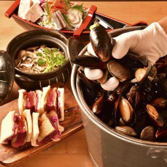 大反響!貝の掴みどり・牡蠣の土鍋飯・エゾ鹿・軍鶏と魚介の舟盛りコース2h飲放付8品¥5000→¥3500