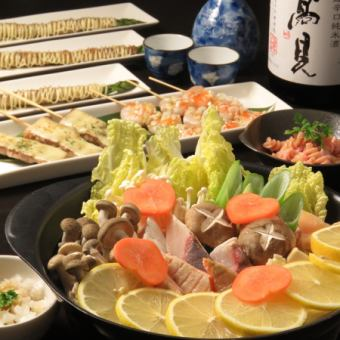 【6 kinds of pot course to choose】 Standard class skewer with 3 iron plates! All you can drink 2 hours ☆ 4000 yen ☆