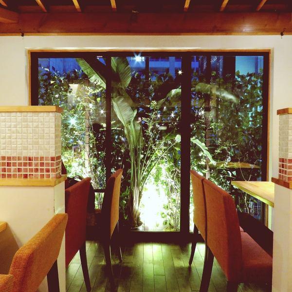 緑に溢れた開放的な店内にはカウンター・テーブル席、デート・女子会・宴会など多種多様な使い方が出来ます!