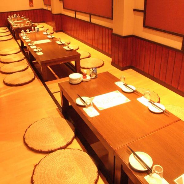 最大24名まで対応の掘りごたつ席。家族での食事~会社の宴会まで幅広くご利用頂けます。