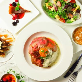 Sun - Thu Limited! 【Night Cafe SET】 Salad + Selectable Main + Dessert + 1 Drink ⇒ 1500 yen