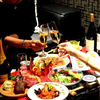 在特別的日子♪【高級課程】歡呼與9件物品+ 3 H歡呼波光粼粼和牛腩牛排[飲酒] 3500日元