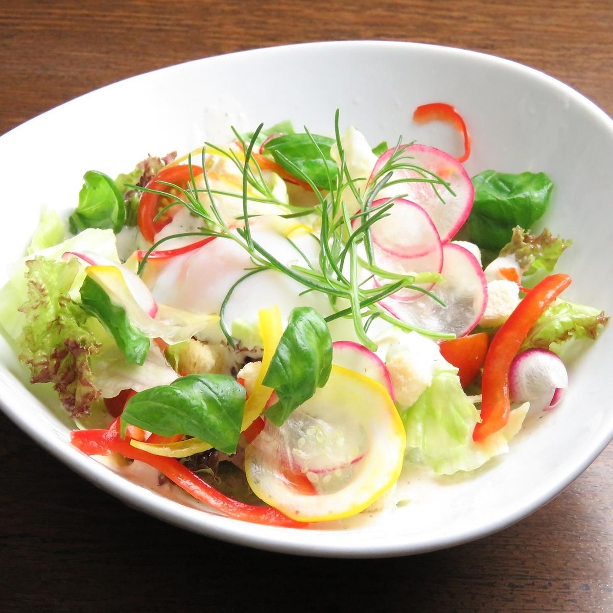 Homemade dressing Caesar salad