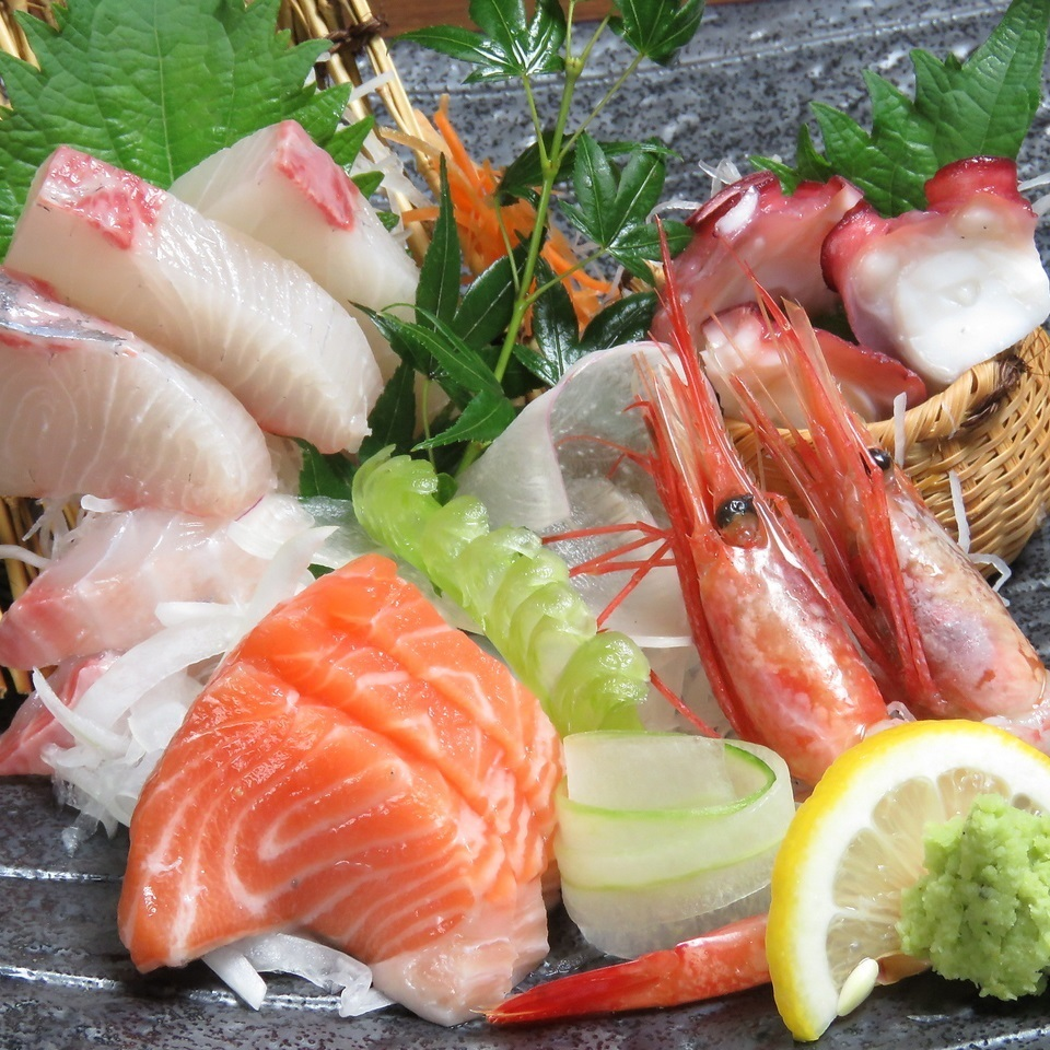 Assortment of five sashimi of the day today