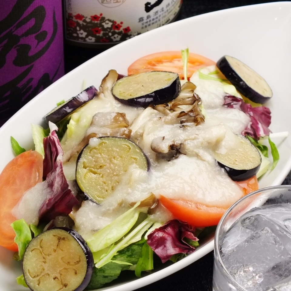 Fried vegetables lined salad ~ Onion dressing ~