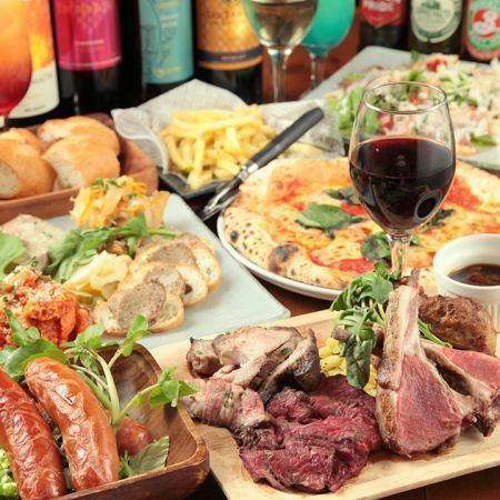 切★Churrasco酒店在眼睛前面所有你可以吃走向8个菜3H全友畅饮与4980日元⇒3480日元