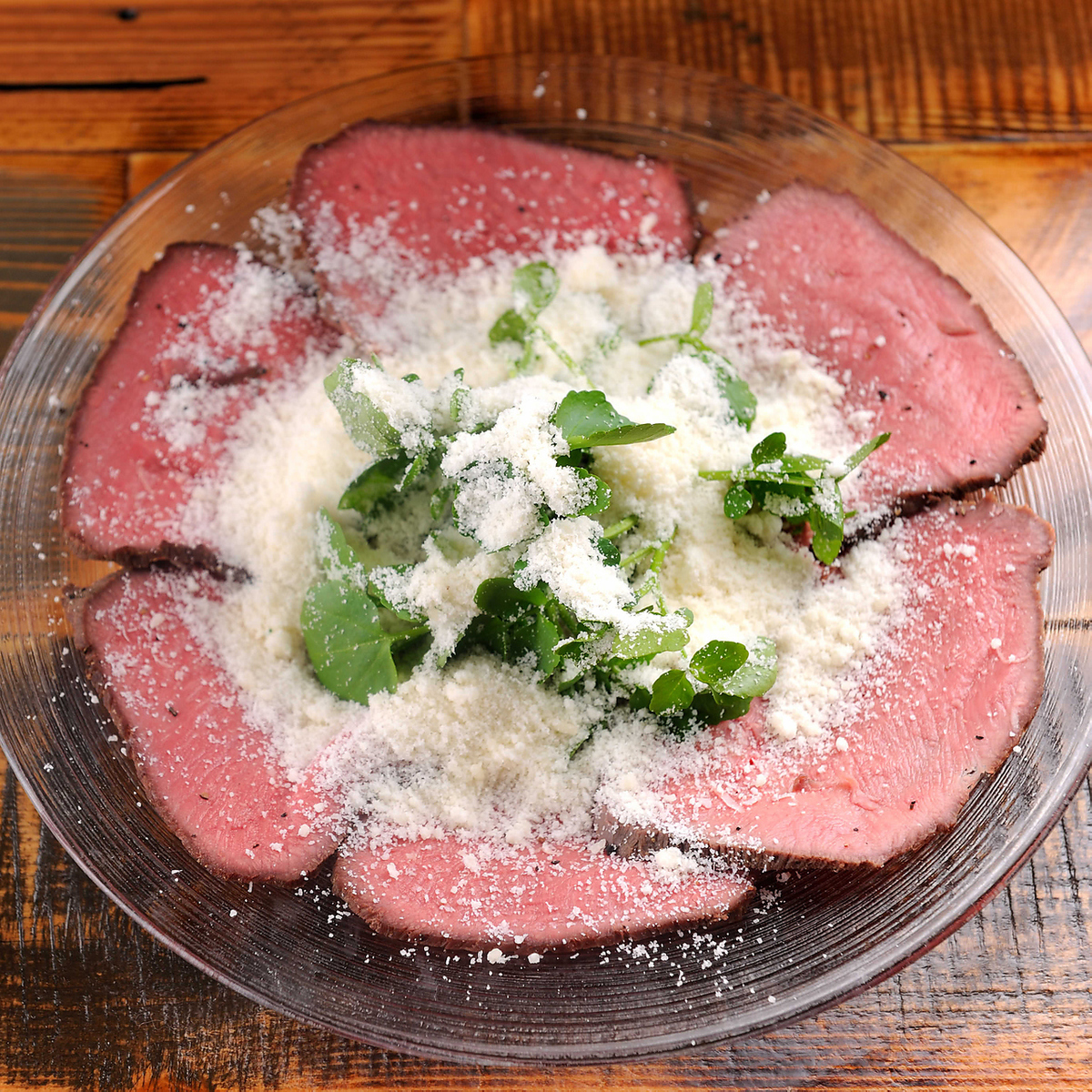 Beef tongue roast carpaccio (salt-tan style secret biscuit fish / plenty of Parmigiano)