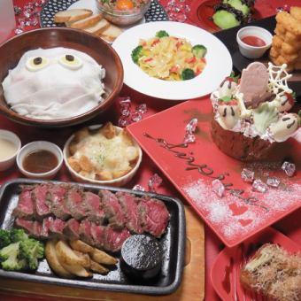 [囚徒驚喜套餐]的生日和紀念日◎料理9道菜(包括慶典蛋糕)+飲料3500日元無限