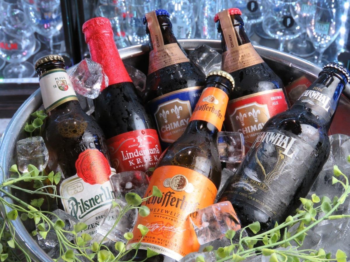 豐富的海外啤酒約50種,鐵板美味小吃♪使用