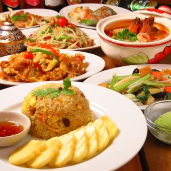 【Enjoy Thailand】 Great satisfaction party feast that can taste all of Ratanakosin's Uri 90 minutes with unlimited drinks 6000 yen