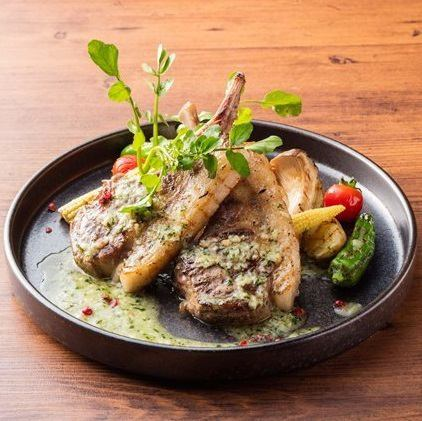 ●熟成ラムロースと野菜のグリエ ル・プルギニオン ~香草バターのソース~