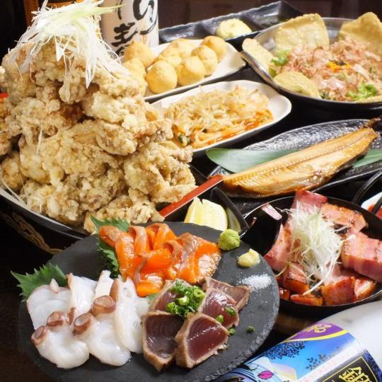 ありんこ酒場で会社宴会を!!お刺身も食べれるようになりました♪大人気からあげ盛り「ありんこ号」も健在!!