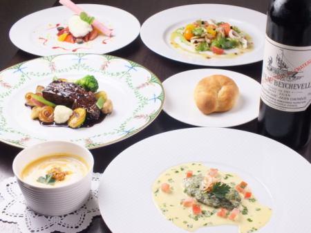 季節の食材を使用した特製ディナーコース