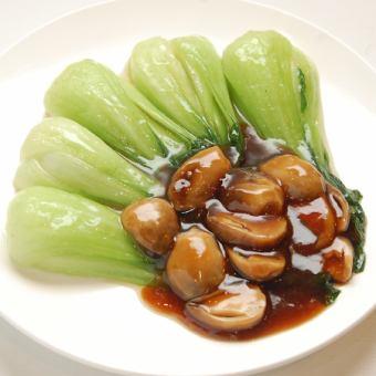 青梗菜の芯椎茸炒め
