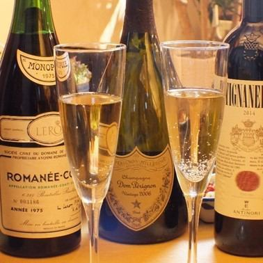 Select carefully selected wine and champagne