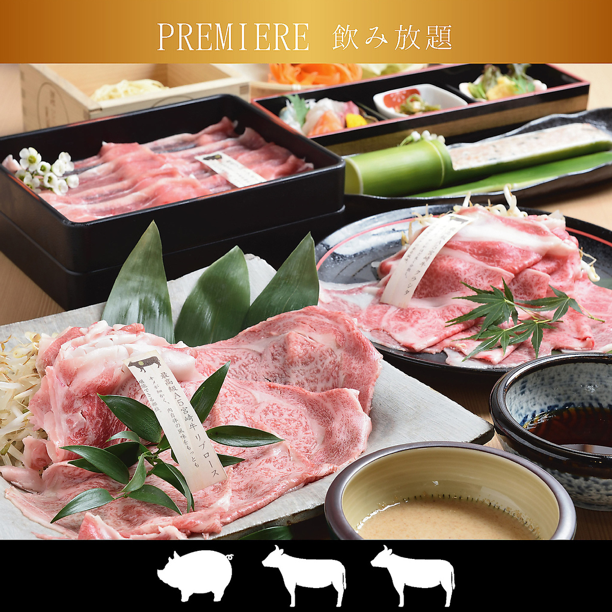 【2 hours drinking attachment】 Sakura Shabu course 8 items / 9500 yen (tax not included)