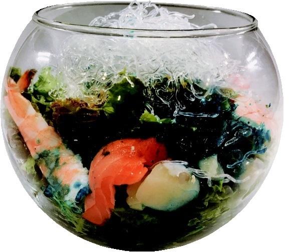 Fish bowl seafood Cobb salad
