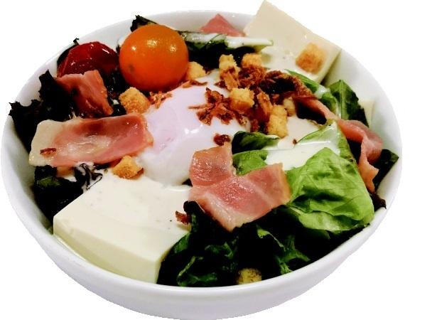 Caesar salad with tofu and yuba