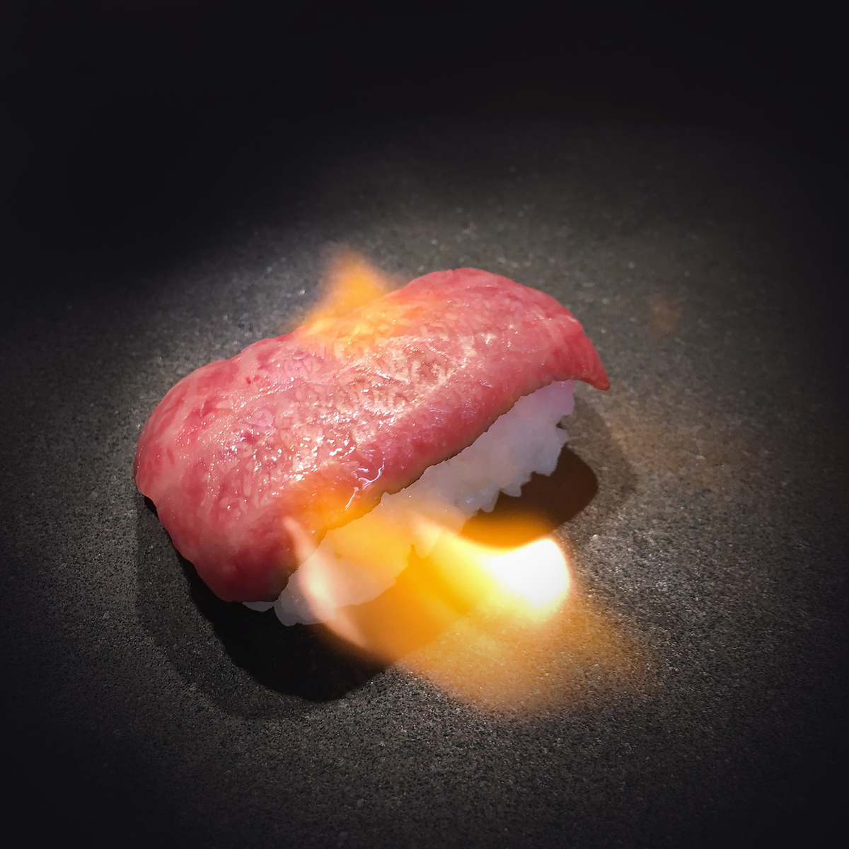 Broiled sushi with black wagyu beef