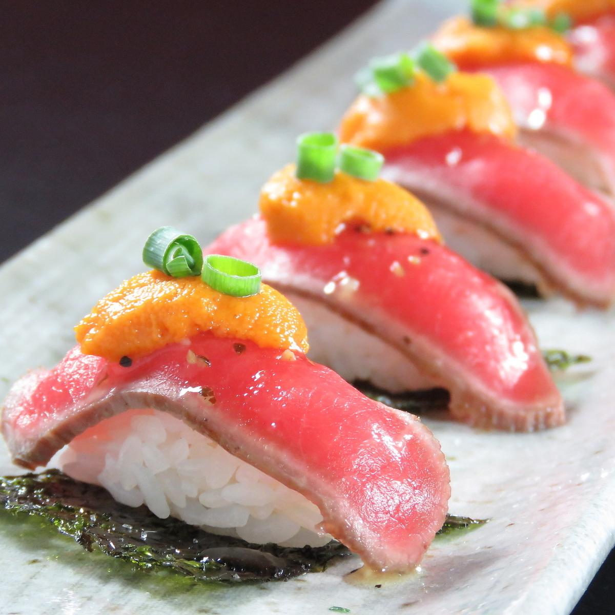十勝ハーブ牛のうにく寿司