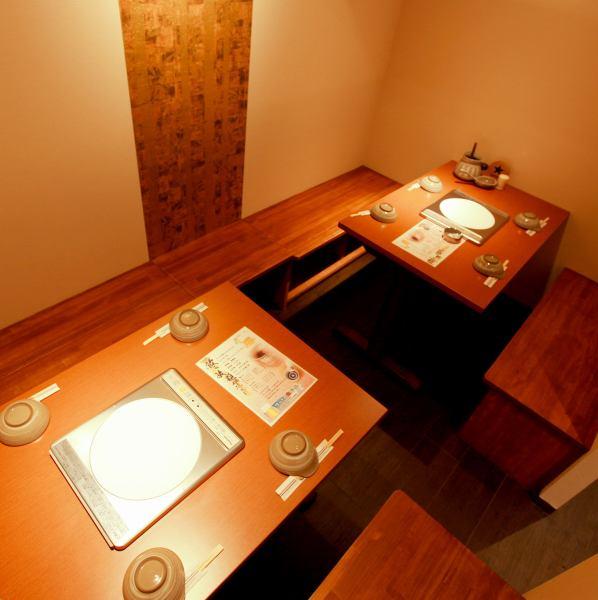 個室席もご用意しております☆デートや少人数宴会でもご利用ください♪4名席×2席ございます♪