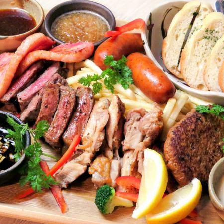 享受肉盤·合理☆【自助餐廳套餐】120分鐘,你可以喝6件3500⇒3000日元