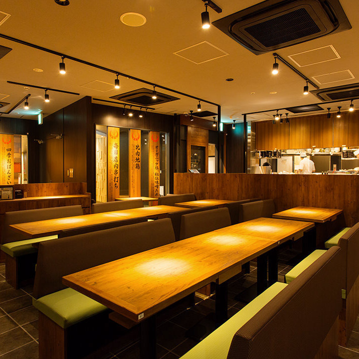 A spacious Japanese space with a feeling of opening.We will produce delightful seats with delicious Japanese cuisine.