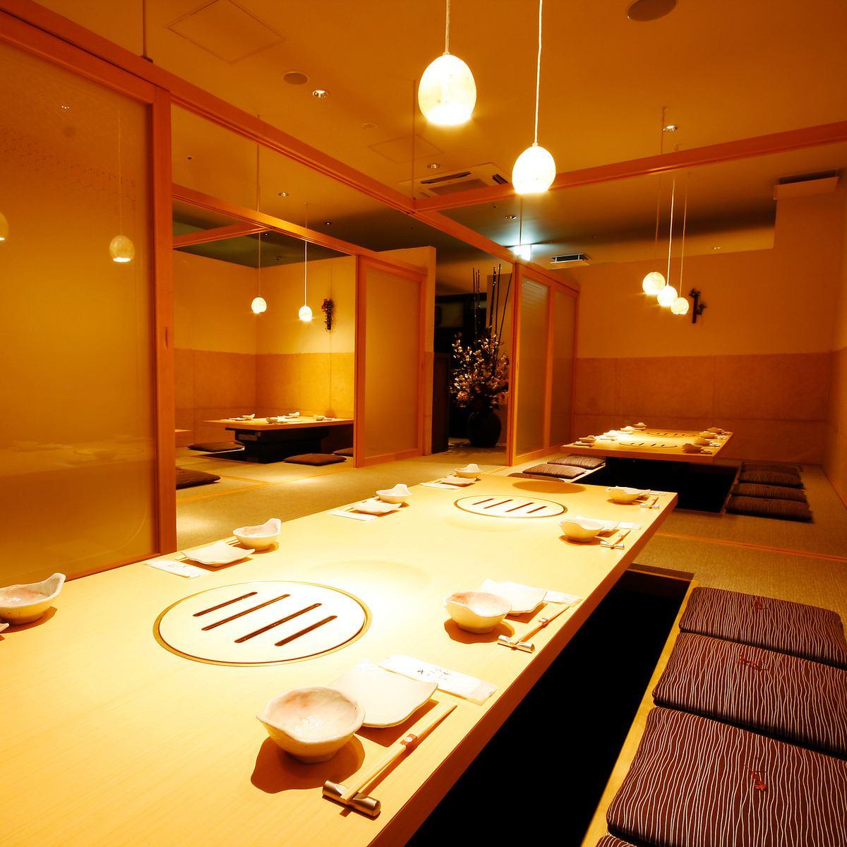京をイメージした和室空間。20名~最大50名様の掘りごたつ個室