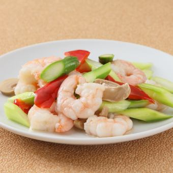 Stir-fried shrimp and asparagus salty flavor
