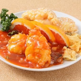 Two kinds of prawn prawn sauce (Chili sauce · mayonnaise)
