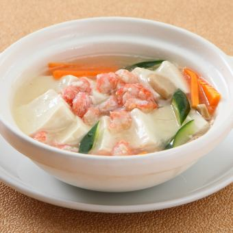 Boiled salted with tofu and crab meat