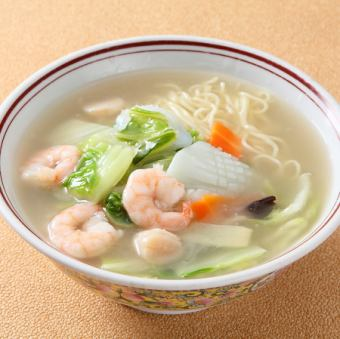 Shrimp with soup noodles
