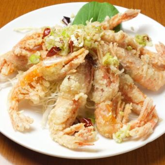 Crisp and sweet shrimp with green onions
