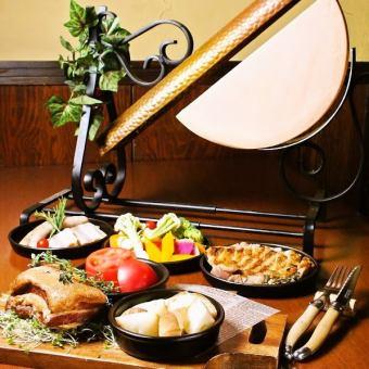 新提花和桶raclette奶酪懸崖(晚餐菜單)