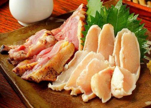 国産地鶏のタタキ2種盛り