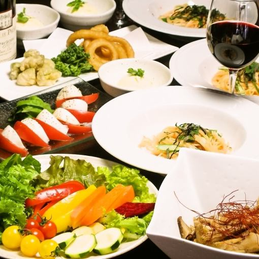 Banquet ◆ 【2 hour drink all you can & vegetable buffet】 Aya ~ irodori ~ Course (8 items) 3980 yen