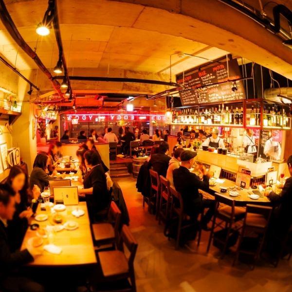 【3Fフロア】は活気あふれるオープンキッチンのバルフロア。会社帰り飲み、飲み会、女子会、デートにおすすめ!
