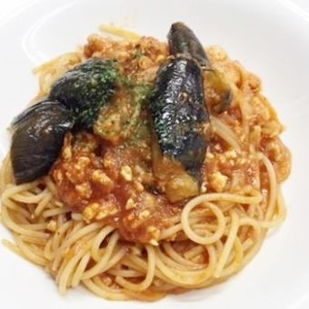 Spicy tomato sauce of fried eggplant and minced