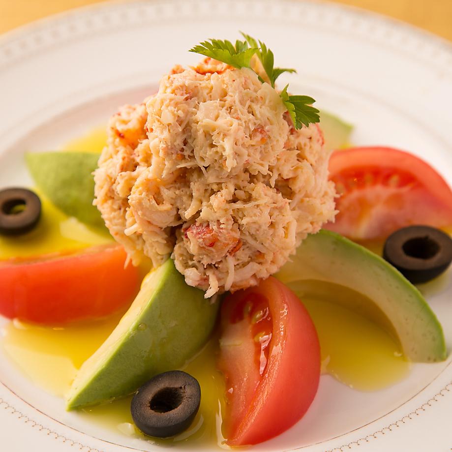 塔拉巴蟹,番茄,鳄梨沙拉