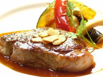 特選牛フィレ肉のガーリックステーキ