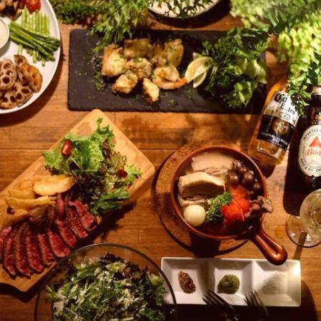 本日の魚介鉄板焼き、肉盛りコース